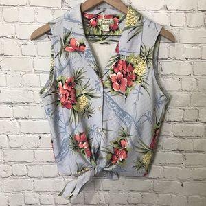 Tommy Bahama tie front sleeveless silk Hawaiian